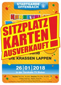 """Eintrittskarte (Sitzplatz) STGO Sitzung 2018 """"Karneval in BiebeRio"""""""