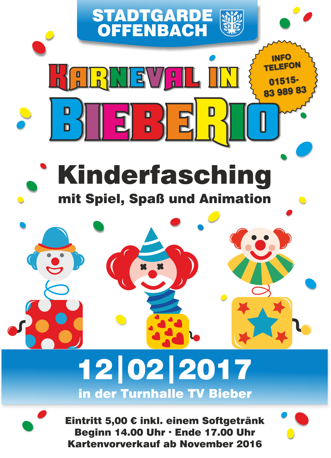 Flyer 2017 Kinderfasching Stadtgarde Offenbach